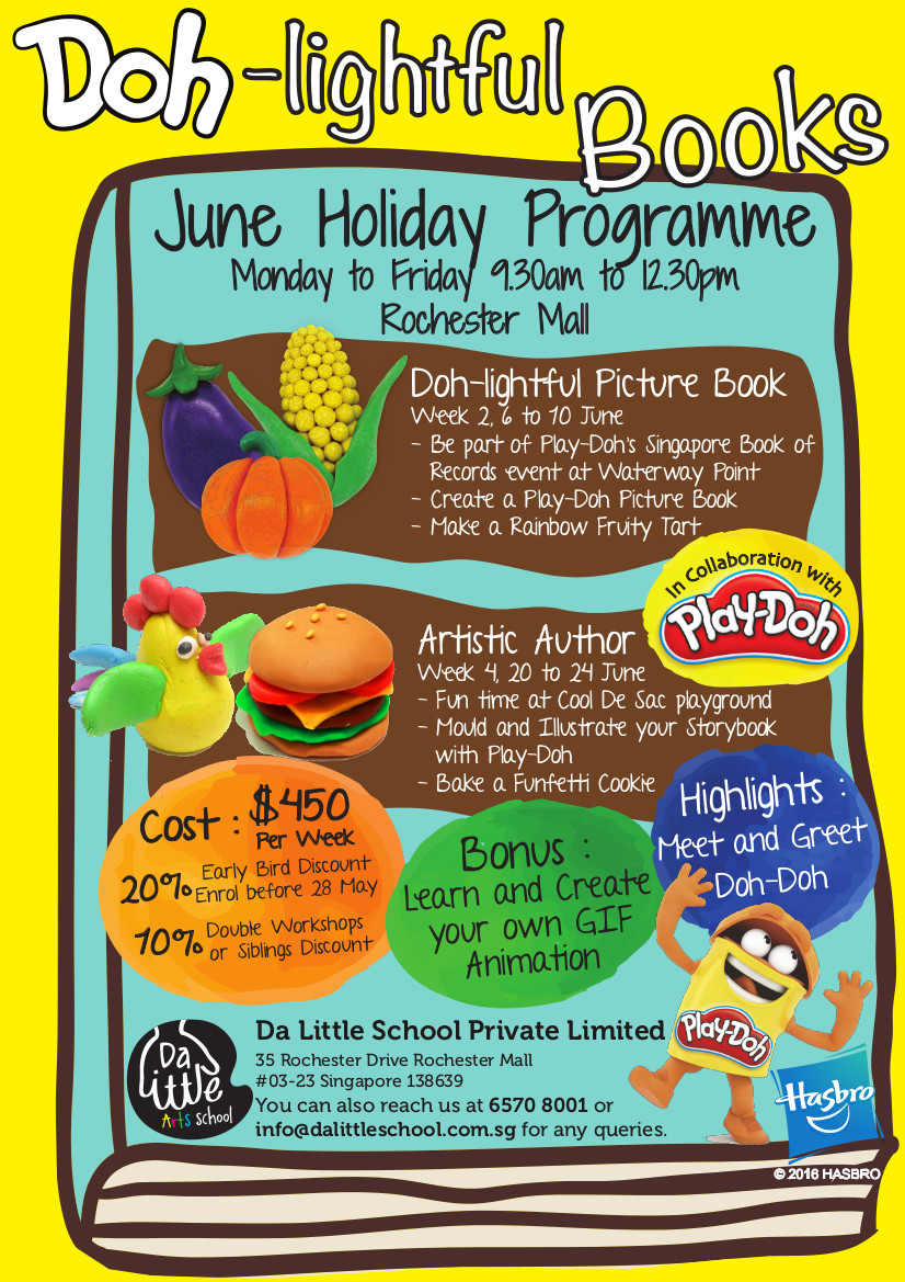 Doh-lightful Books June Holiday Programme Monday to Friday 9.30am to 12.30pm Rochester Mall. In collaboration with Play Doh Hasbro. Highlights: Meet and Greet Doh-doh.