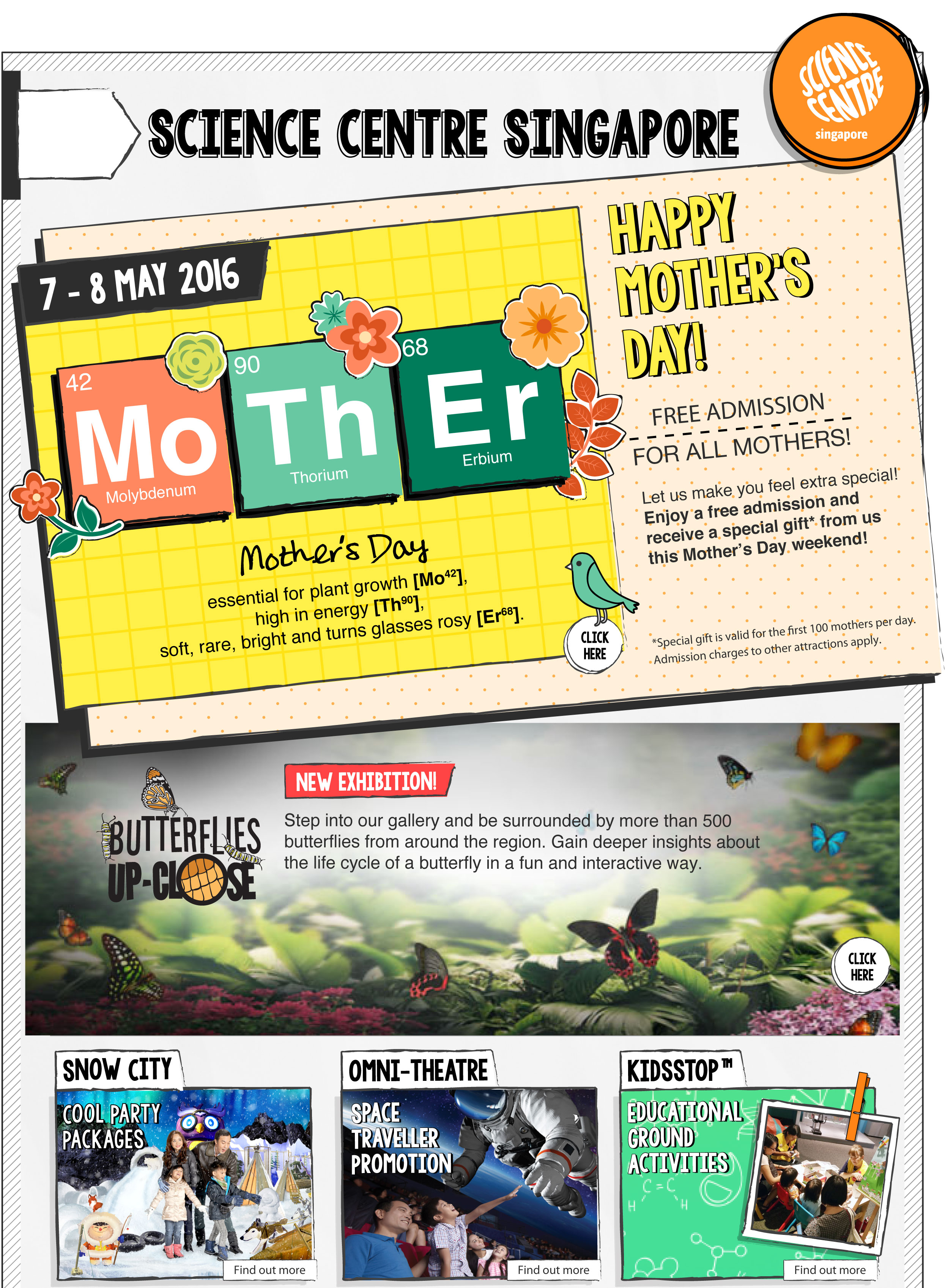 Science Centre Celebrates Mother's Day with Free Admission for all mothers and receive a special gift* this Mother's Day weekend! *First 100 mothers per day.