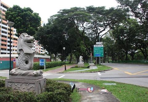 pair of merlions at Ang Mo Kio Ave 1
