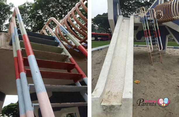 metal steps and concrete slide