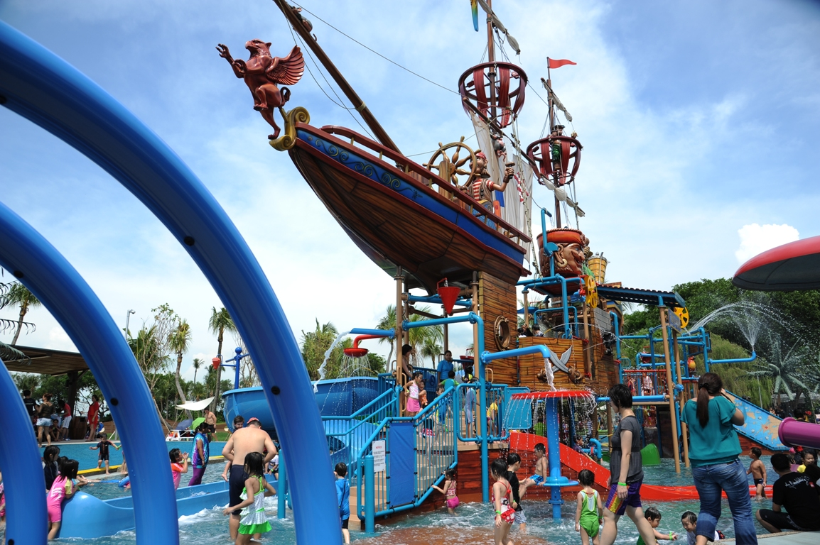 Children and families playing at the Pirate Ship