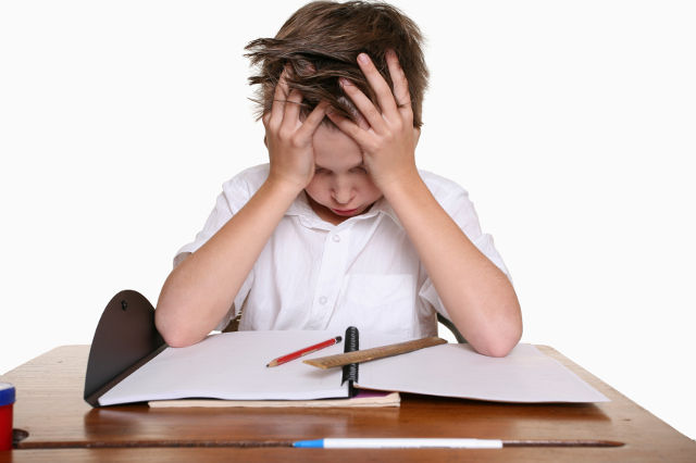 A frustrated, upset child, or child with learning difficulties.