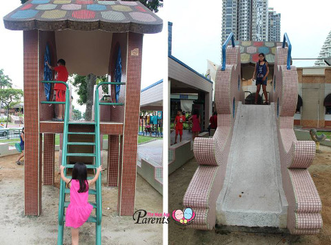 metal stairs on one side and slide on the other kids playground