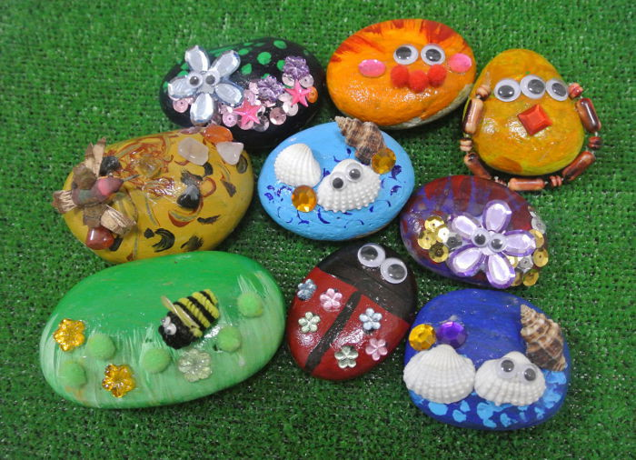 Art activity for kids Creating cute pebbles