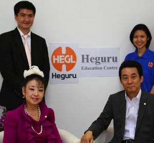Heguru Founders Ms Ruiko and Mr Hirotada Henmi, with Heguru Education Centre @ Eunos Principal, Eng Liang (second row, left) & Teacher Paige (second row, right)