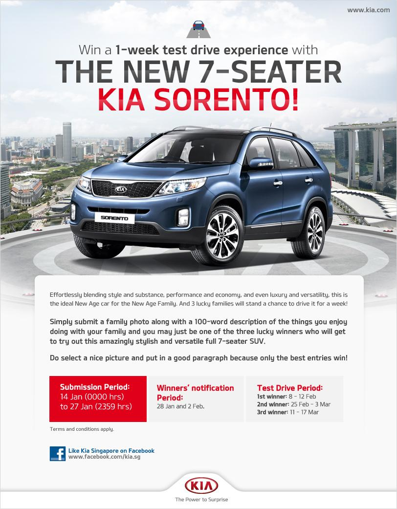 win 1 week test drive with new 7 seater kia sorento the. Black Bedroom Furniture Sets. Home Design Ideas