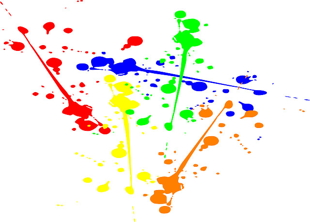 splattering paint with kids