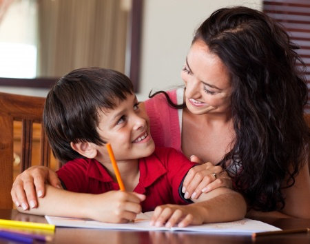 Doing homework happily with children