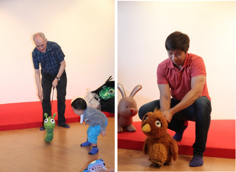 Puppetry session with Brian and Jonathan from I Theatre