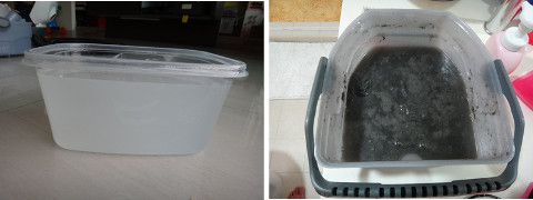 before and after shots of karcher vacuum cleaner water tank