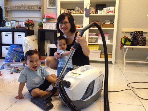 mum dorothea with karcher new waterfilter vacuum cleaner