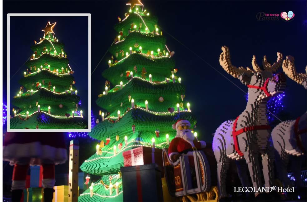 christmas tree made from lego bricks