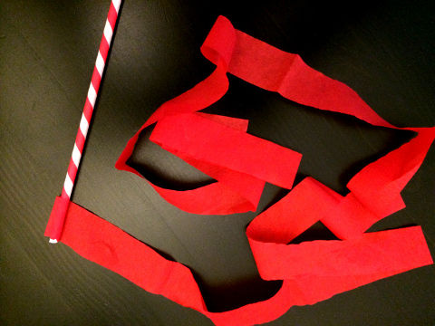 Singapore National Day art-n-craft activity for kids ribbon wands