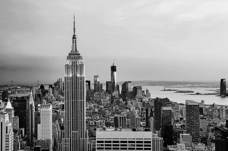 New York City skyline in black and white
