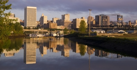 Tacoma Washington along the water at Sunrise