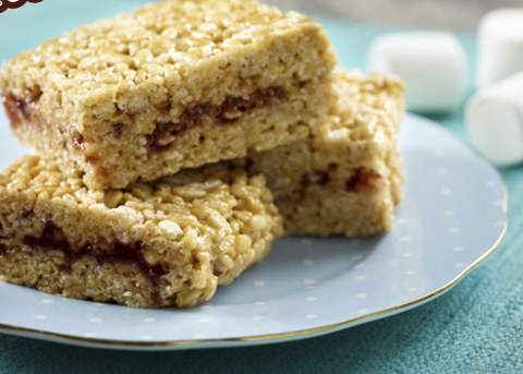 Peanut Butter Jelly Rice Cereal Bars Recipe