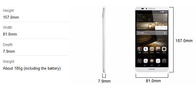 huawei mate 7 specs and dimensions