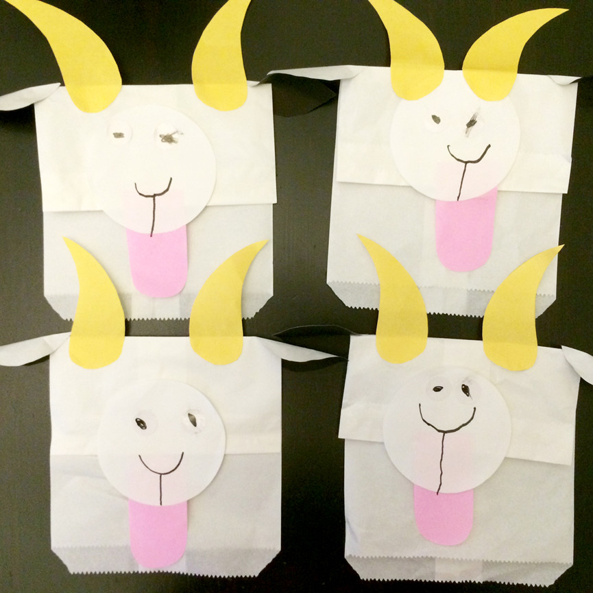 Art and craft activity paper goat puppets for Art n craft from waste