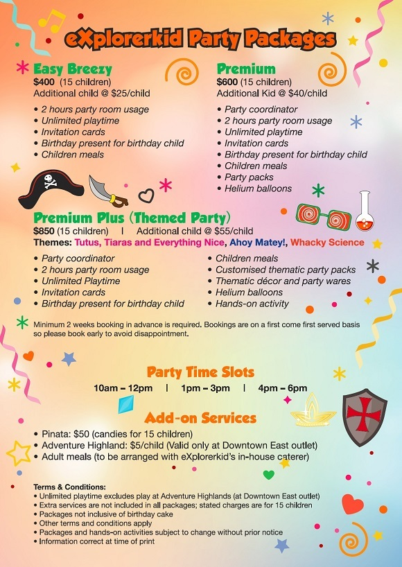 explorerkid Birthday Party Packages