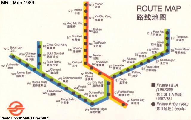 Old MRT Map of Singapore 1989 Credits to RememberSG.org