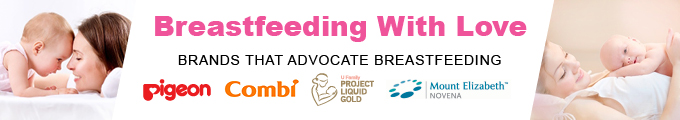 Breastfeeding with Love is supported by Pigeon, Combi, U Family and Mount Elizabeth