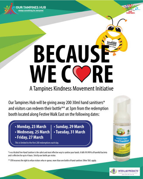 Free Giveaway hand sanitiser at Our Tampines Hub