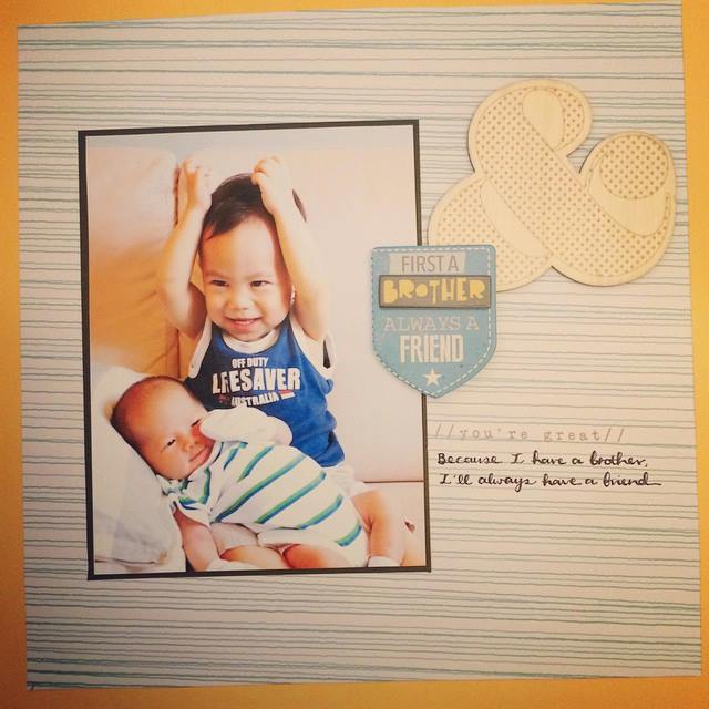 Baby with brother scrapbook
