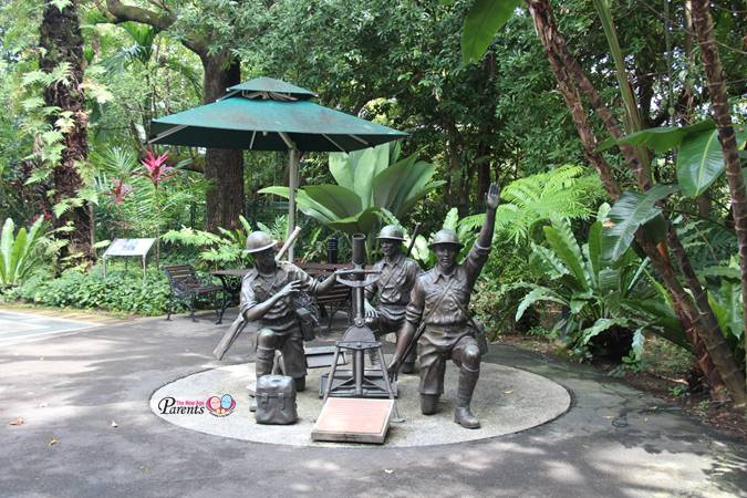 statues of soldiers at bukit chandu war museum