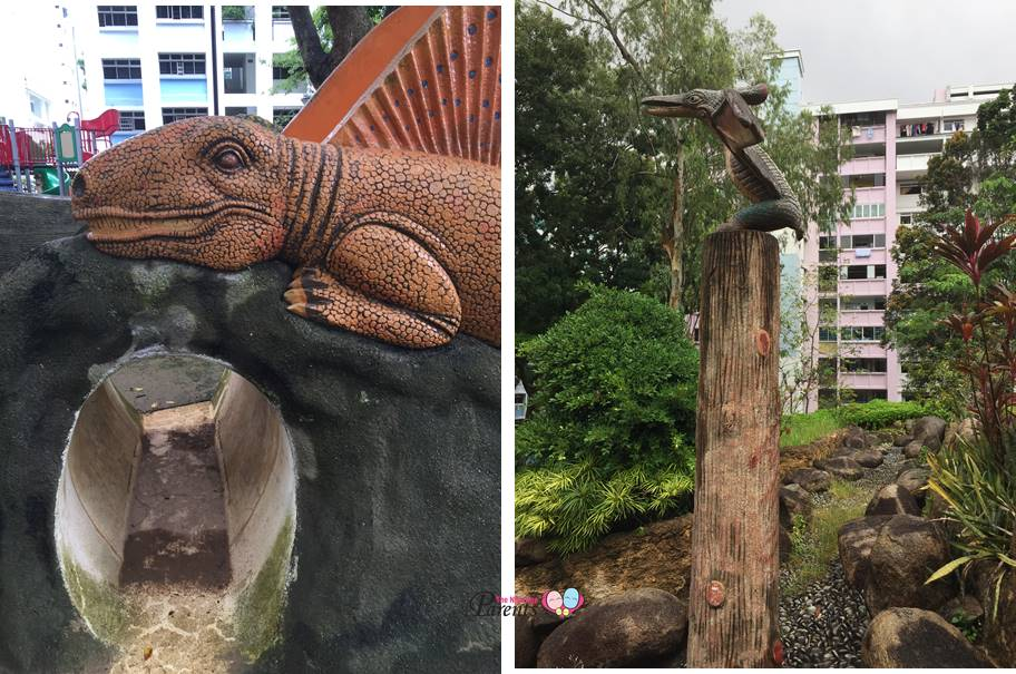 dinosaurs galore at playground in fu shan park woodlands