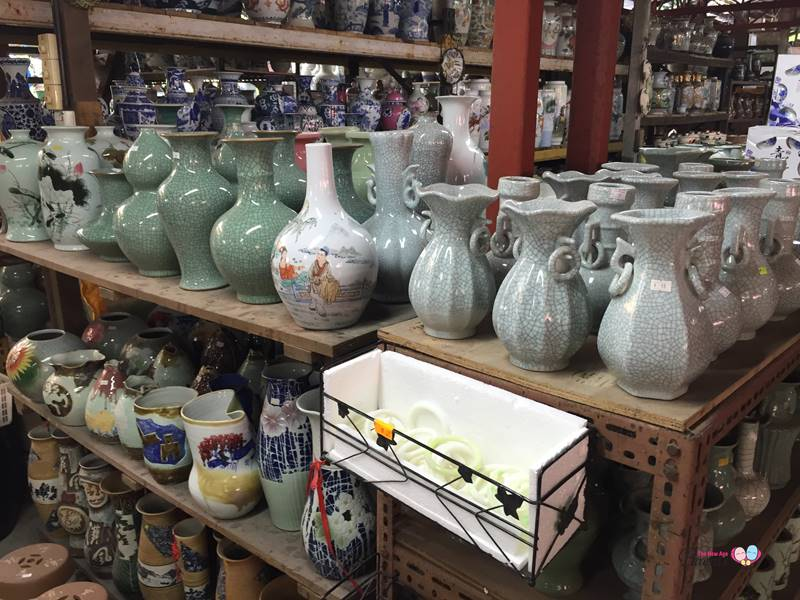 display of vase in thow kwang pottery