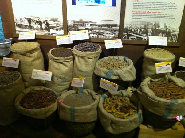 sacks of spices at heritage room philatelic museum