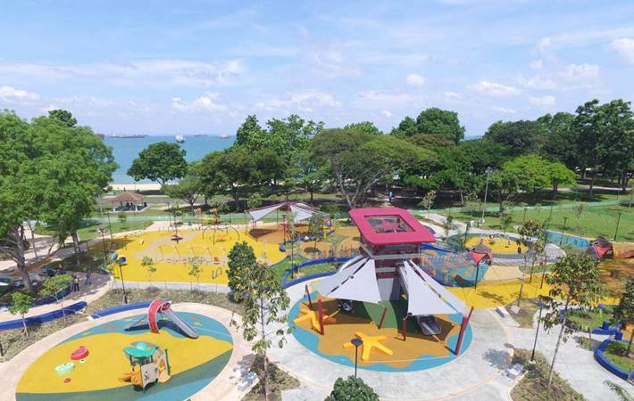 birds eye view of marine cove east coast park singapore