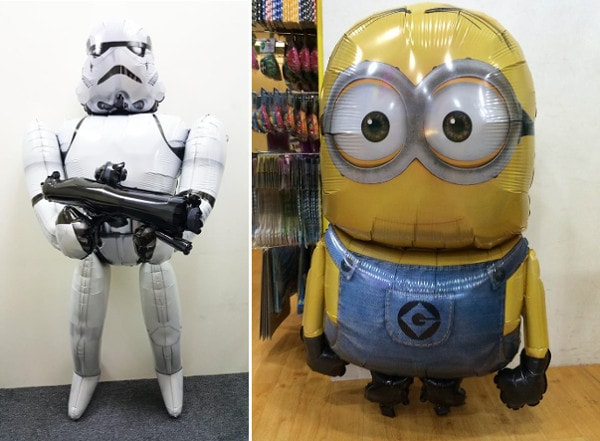 Storm Trooper and Minion Character balloons The Party Stuff