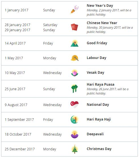 Singapore holidays and long weekends in 2017