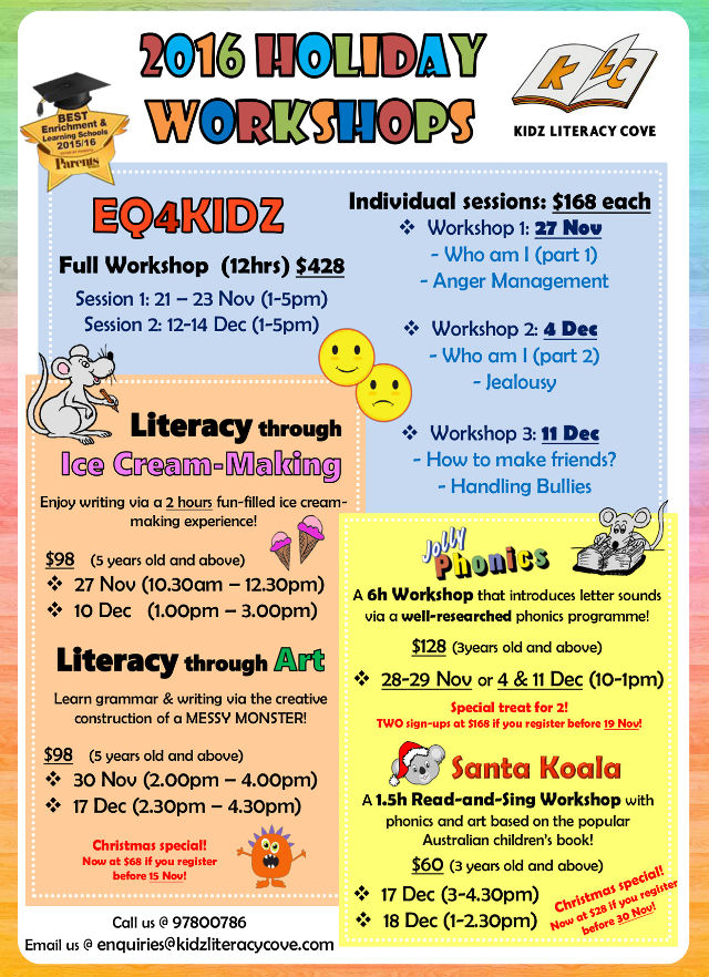 kidz literacy cove nov-dec holiday- workshop