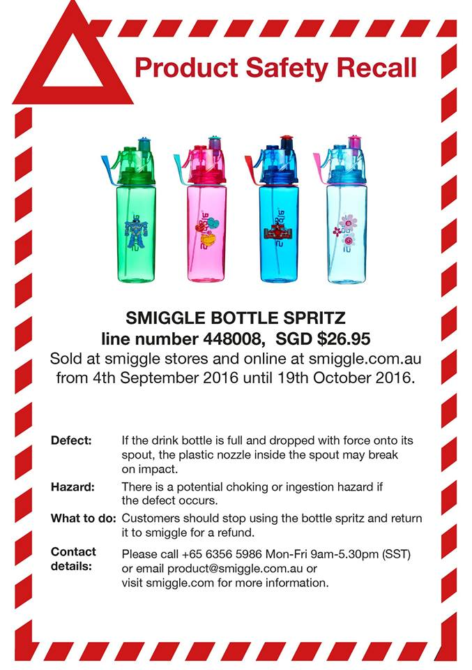 product safety recall smiggle bottle spritz