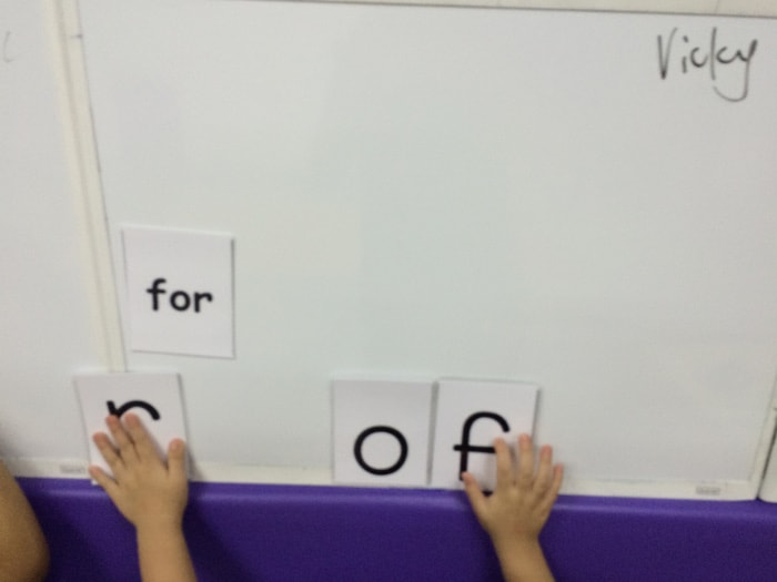 Matching word cards to picture cards