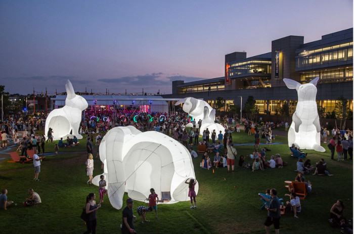 Civic District Outdoor Festival Giant Rabbits at Padang