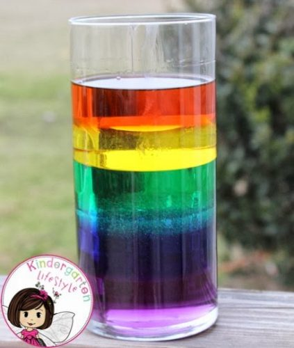 Rainbow in a glass science experiment kids