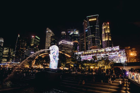 Merlion light projection shows