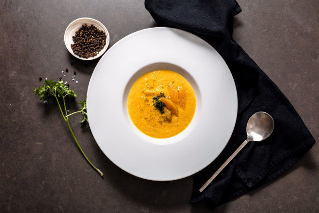 carrot and orange with candied ginger soup
