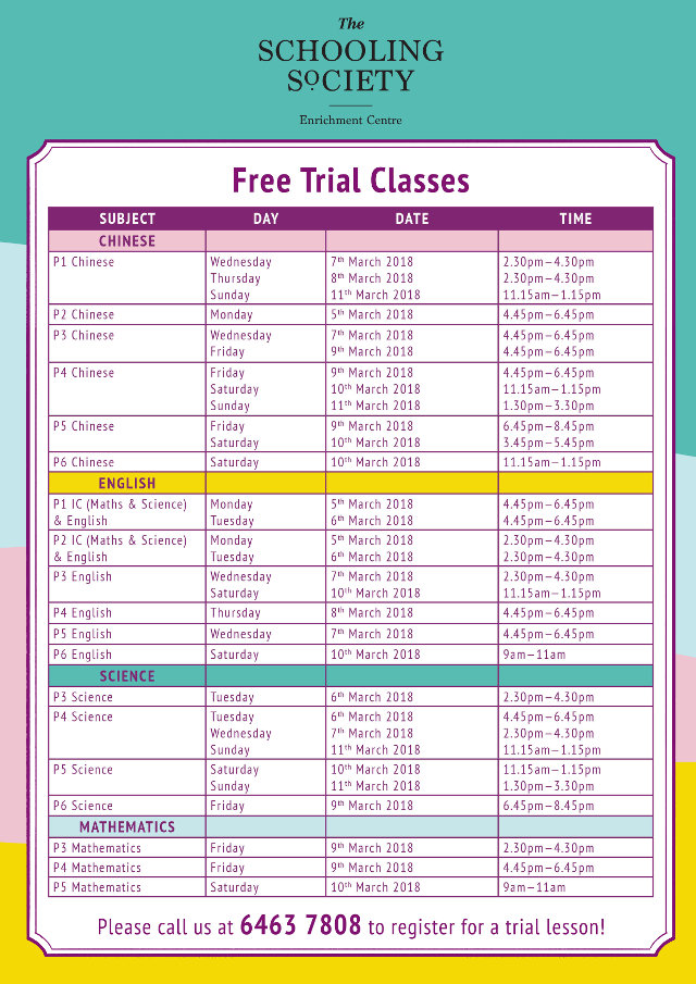 TSS Open House trial class timetable new