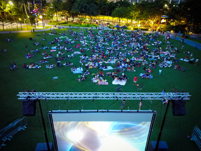Movie by the beach at Sentosa