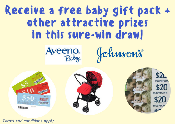 Recieve a free baby gift pack and sure win prize