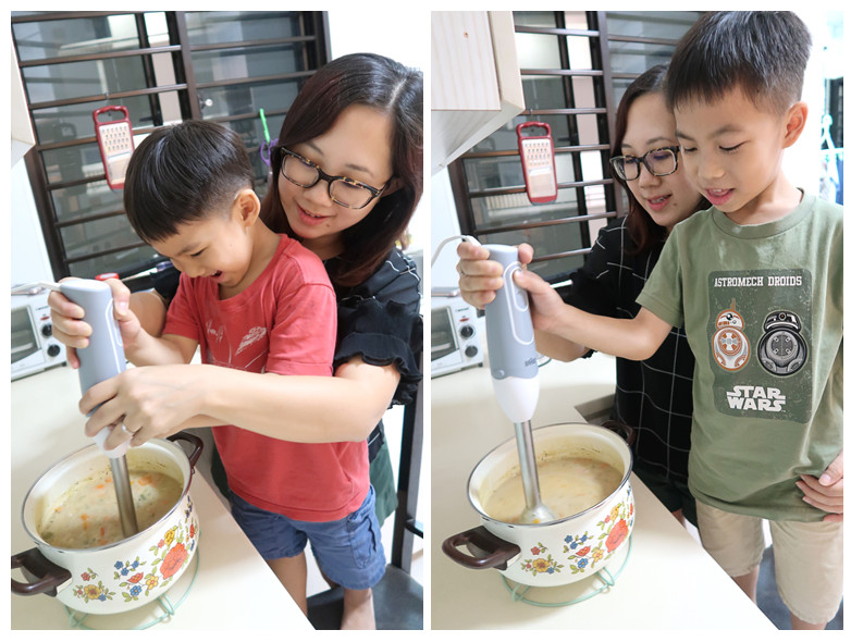 Using Braun Handblender cooking with kids