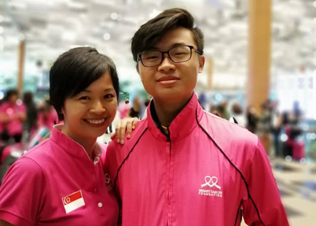 Breast cancer survivor Anne and Son