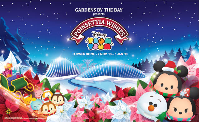 Poinsettia Wishes featuring Disney Tsum Tsum Floral Display Gardens by the Bay