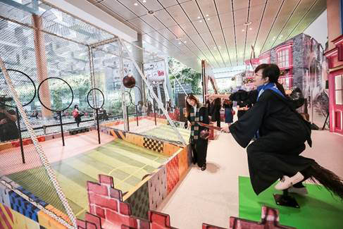 Balancing on a broomstick Wizarding World Holiday at Changi Airport