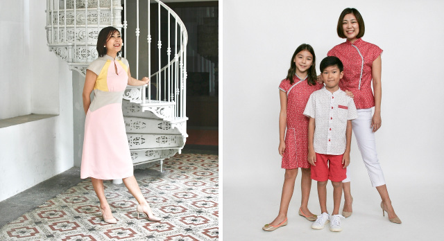matching cny clothes family peas and plums