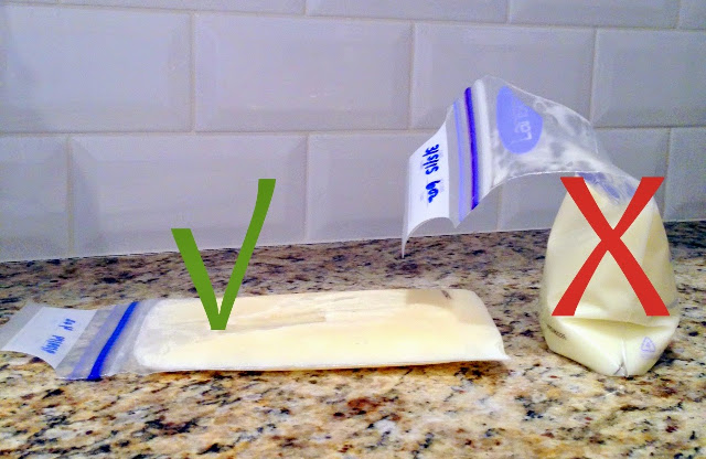 ways to store breastmilk - Lay the bag flat in a plastic container